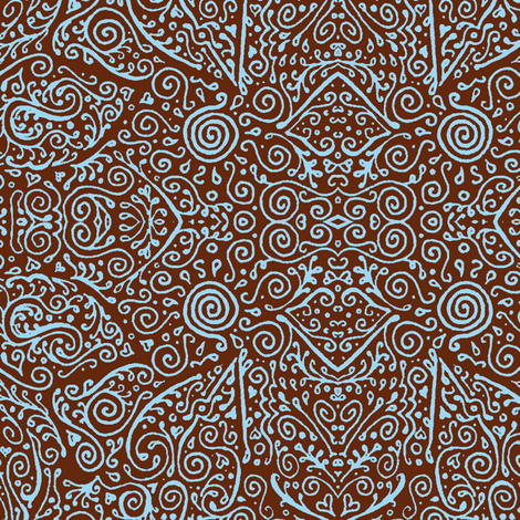 bridal mendhi in sky blue and brown fabric by weavingmajor on Spoonflower - custom fabric
