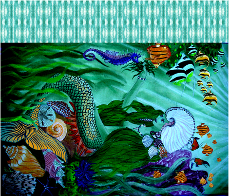 Mermaid_at_Home_1 yard by 42 inches fabric by art_on_fabric on Spoonflower - custom fabric