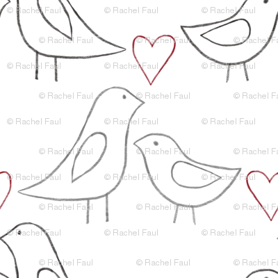 lovebird outlines on white