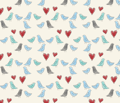 drawn lovebirds on cream fabric by glindabunny on Spoonflower - custom fabric
