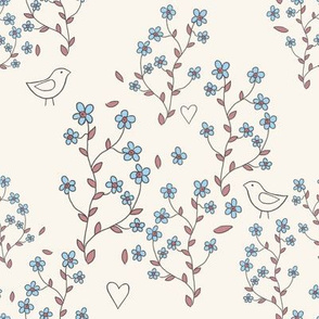 forget-me-nots with birds on cream