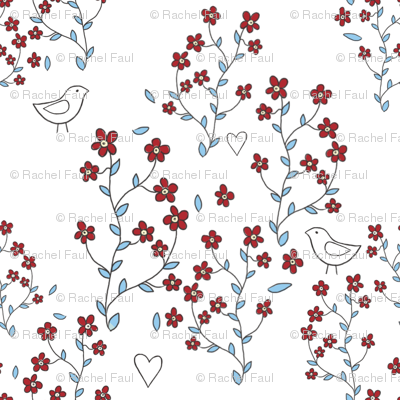 red forget-me-nots with birds on white