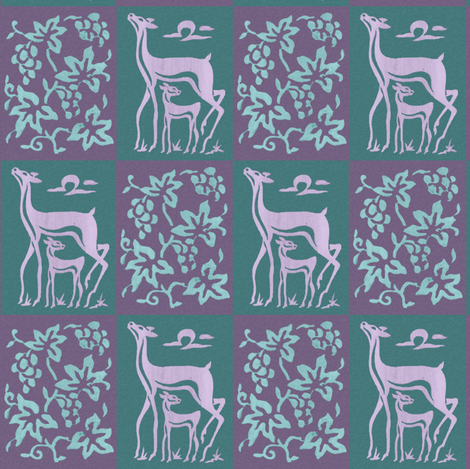 Wooden tjap grapes and deer - green & lavender fabric by mina on Spoonflower - custom fabric