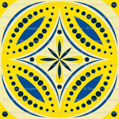 Moroccan Tiles (Blue/Yellow)