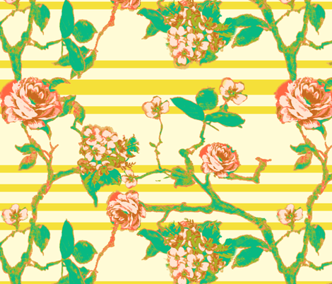 rose stripe - yellow fabric by cheyanne_sammons on Spoonflower - custom fabric