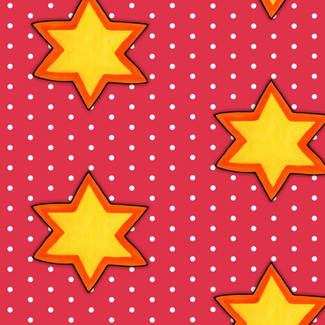 Christmas Star on White Dots on Red