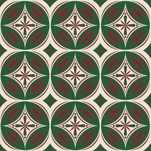 Moroccan Tiles (Burgundy/Hunter) Reversed