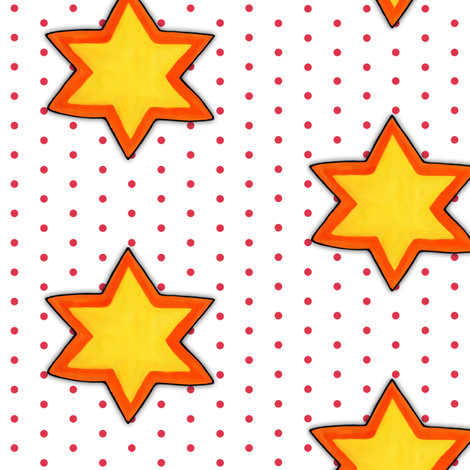 Christmas Star Red Dots on White
