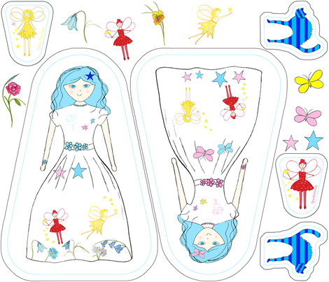 Veronica Blue Doll, Cat & Fairy Plushies fabric by de-ann_black on Spoonflower - custom fabric