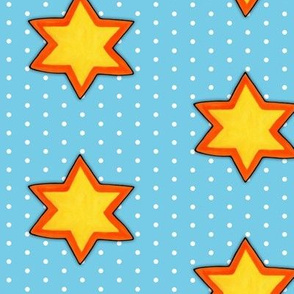 Christmas Star White Dots on Blue
