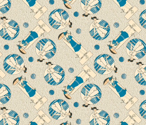 Art Deco at the Beach fabric by unseen_gallery_fabrics on Spoonflower - custom fabric