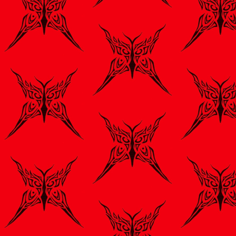 Tribal Butterfly (red) fabric by ladyleigh on Spoonflower - custom fabric