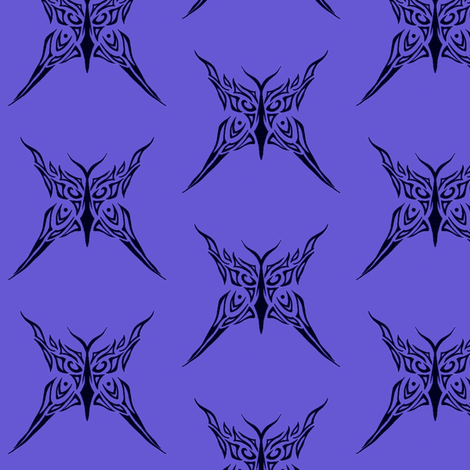 Tribal Butterfly (purple) fabric by ladyleigh on Spoonflower - custom fabric