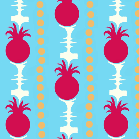 Pineapple Stripes on Blue fabric by boris_thumbkin on Spoonflower - custom fabric