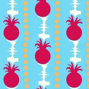 Pineapple Stripes on Blue