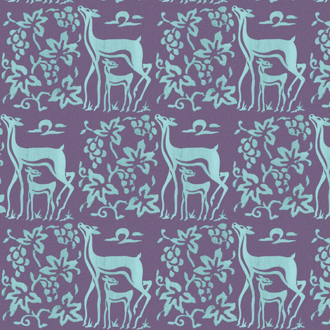 Wooden tjaps grapes & deer - closer -  seafoam on textured lavender  fabric by mina on Spoonflower - custom fabric
