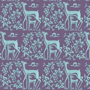 Wooden tjaps grapes & deer - closer -  seafoam on textured lavender