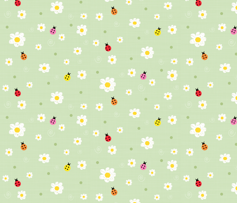 Daisies & Colorful Ladybugs On Green Background