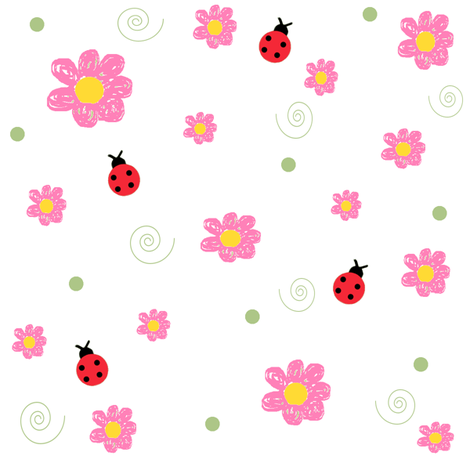 Pink Daisies & Ladybugs fabric by taramcgowan on Spoonflower - custom fabric