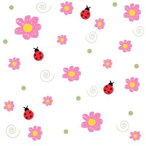 Pink Daisies & Ladybugs