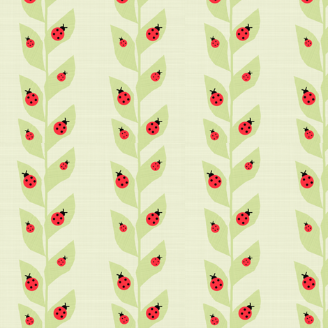 Red Ladybugs On Vine Green Background