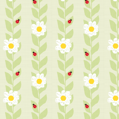 Daisies & Ladybugs fabric by taramcgowan on Spoonflower - custom fabric