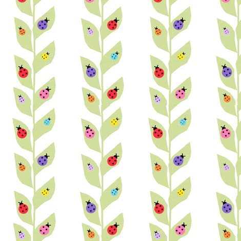 Colorful Ladybugs On Vine fabric by arttreedesigns on Spoonflower - custom fabric