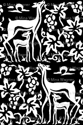 Arts & crafts deer and grapes - black & white - double