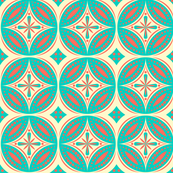 Moroccan Tiles (Turquoise/Coral)