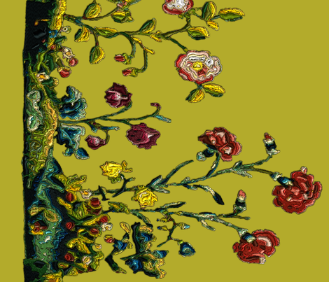 Floral Rococo skirt- or apron embroidery - Gold