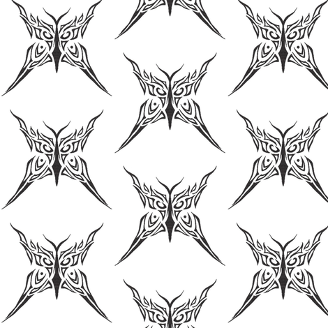 Tribal butterfly (black and white) fabric by ladyleigh on Spoonflower - custom fabric