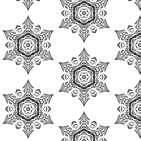 Snowflake Medallion (black and white) fabric by ladyleigh on Spoonflower - custom fabric