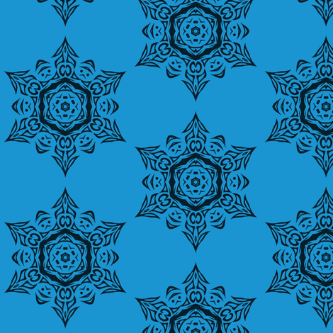 blue_tribal_snowflake_medallion fabric by ladyleigh on Spoonflower - custom fabric