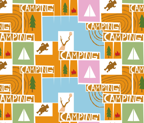 camping_saul_bass fabric by lusyspoon on Spoonflower - custom fabric