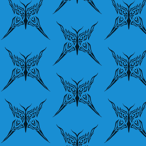 Tribal Butterfly (blue) fabric by ladyleigh on Spoonflower - custom fabric