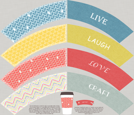 Crafty Coffee Cosies - Live, Laugh, Love, Craft fabric by ttoz on Spoonflower - custom fabric