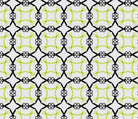Rotating Black/Lime Scissors fabric by audreyclayton on Spoonflower - custom fabric