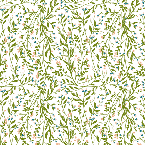 Tangled, Peach Green Blue fabric by thistleandfox on Spoonflower - custom fabric
