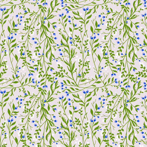 Tangled, Emerald Vine Blue Blossom fabric by thistleandfox on Spoonflower - custom fabric