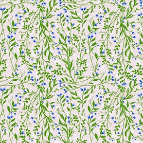 Tangled, Emerald Vine Blue Blossom
