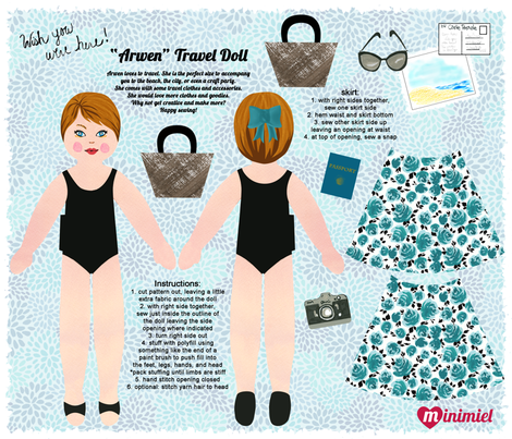 """Arwen"" travel doll pattern fabric by minimiel on Spoonflower - custom fabric"
