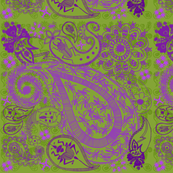 Bug Paisley green and purple