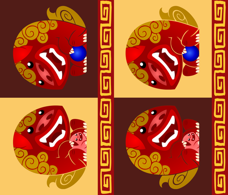 Mr and Mrs Foo Dog fabric by shiro on Spoonflower - custom fabric