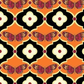 Butterflies and Floral Dots in Tangerine