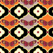 Butterflies and Floral Dots in Tangerine and French Lilac