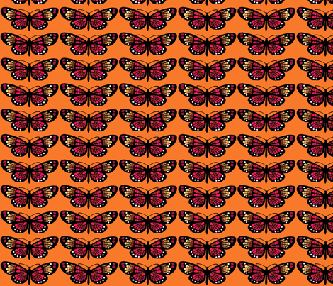 Bohemian Butterflies in Tangerine fabric by rubydoor on Spoonflower - custom fabric