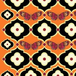 Bohemian Butterflies and Floral Dots in Tangerine