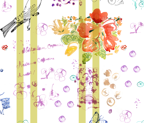 cestlaviv_mon jardin notes fabric by cest_la_viv on Spoonflower - custom fabric
