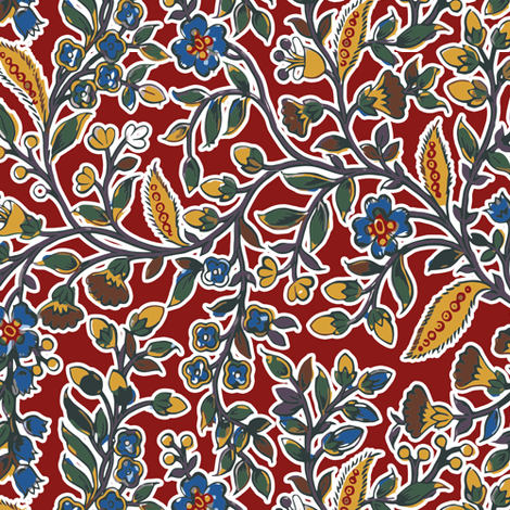 Regency Floral. c. 1802, Red fabric by bonnie_phantasm on Spoonflower - custom fabric