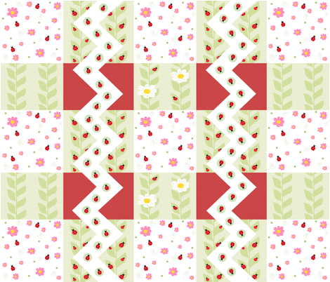 Ladybug Cheater Quilt fabric by arttreedesigns on Spoonflower - custom fabric